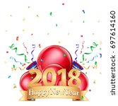 happy new year 2018 logo design.... | Shutterstock .eps vector #697614160