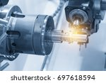 the multi function cnc lathe... | Shutterstock . vector #697618594