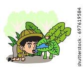 jungle explorer kid cartoon... | Shutterstock .eps vector #697619584