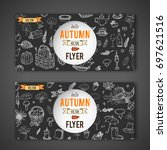 hand drawn doodle autumn icons... | Shutterstock .eps vector #697621516