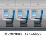 passenger airplane vector... | Shutterstock .eps vector #697623070