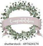 congratulation calligraphy... | Shutterstock .eps vector #697624174