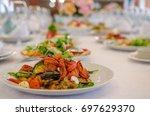 salad with vegetable in... | Shutterstock . vector #697629370