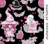 vector seamless pattern. kawaii ... | Shutterstock .eps vector #697630954