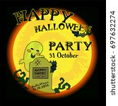 vector happy halloween party... | Shutterstock .eps vector #697632274