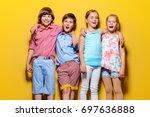 bright summer children. group... | Shutterstock . vector #697636888