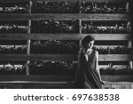brunette girl in evening red...   Shutterstock . vector #697638538