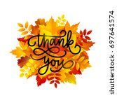 thanksgiving day greeting card. ... | Shutterstock .eps vector #697641574