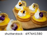 eat delicious lemon tart... | Shutterstock . vector #697641580
