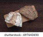 homemade sourdough bread top... | Shutterstock . vector #697643650