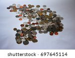 coin stacks on a white...   Shutterstock . vector #697645114