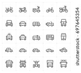 mini icon set   vehicle and... | Shutterstock .eps vector #697645354