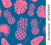 trendy pineapple background.... | Shutterstock .eps vector #697645669