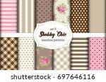 set of 12 cute seamless shabby...   Shutterstock .eps vector #697646116