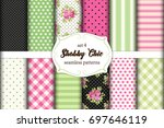 set of 12 cute seamless shabby... | Shutterstock .eps vector #697646119