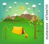 summer landscape. morning... | Shutterstock .eps vector #697646743