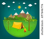 summer landscape. morning... | Shutterstock .eps vector #697646776