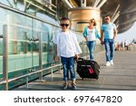 cute little kid boy with... | Shutterstock . vector #697647820