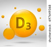 vitamin d3 gold icon.... | Shutterstock .eps vector #697649368