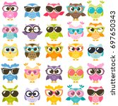 collection of colorful owls... | Shutterstock .eps vector #697650343