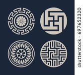 korean traditional pattern icon | Shutterstock .eps vector #697652320