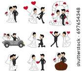 wedding doodle couple  bride... | Shutterstock .eps vector #697654348