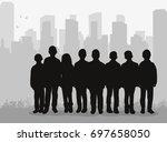silhouette of children of... | Shutterstock .eps vector #697658050