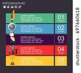 business steps timeline... | Shutterstock .eps vector #697660618