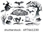 halloween hand drawing black... | Shutterstock . vector #697661230