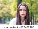 portrait of a beautiful young...   Shutterstock . vector #697672108