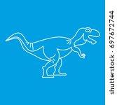 tyrannosaur icon blue outline...   Shutterstock .eps vector #697672744