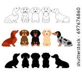 set of dachshund group | Shutterstock .eps vector #697676860