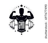 bodybuilding weightlifting gym... | Shutterstock . vector #697677490