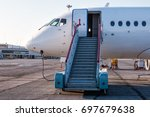 passenger aircraft with... | Shutterstock . vector #697679638