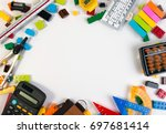 frame of plastic toy blocks... | Shutterstock . vector #697681414