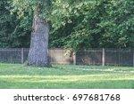 bench in  beautiful park in... | Shutterstock . vector #697681768