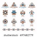 aztec tribal ethnic ornaments...   Shutterstock .eps vector #697682779