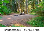 camping spot   a wooded... | Shutterstock . vector #697684786