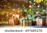 christmas tree with gifts ... | Shutterstock . vector #697685170