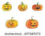 halloween watercolor orange... | Shutterstock . vector #697689373