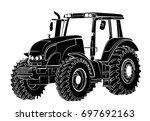 tractor sketch.  | Shutterstock .eps vector #697692163