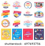 literacy and teachers day... | Shutterstock .eps vector #697693756