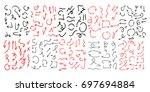 big set of hand drawn arrows ... | Shutterstock .eps vector #697694884