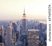 new york   april 14  empire... | Shutterstock . vector #697695574