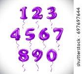 vector pink purple number 1  2  ... | Shutterstock .eps vector #697697644