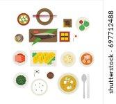 breakfast by country vector... | Shutterstock .eps vector #697712488