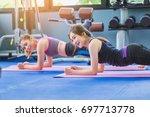 group of happiness women doing...   Shutterstock . vector #697713778