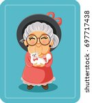 cute senior lady with her cat... | Shutterstock .eps vector #697717438