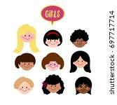 vector girls face flat design ... | Shutterstock .eps vector #697717714