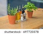 balsamic vinegar and oil... | Shutterstock . vector #697720378